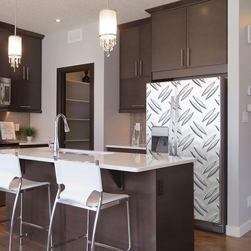 Sticker adhésif grain de riz pour décoration de frigo américain dans une cuisine moderne