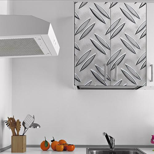 Adhésif pour meuble haut de cuisine blanche décoration grain de riz gris