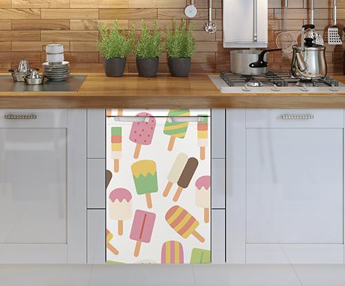 Lave vaisselle orné d'un sticker décoratif pour petit frigo Mosaïque de sorbets