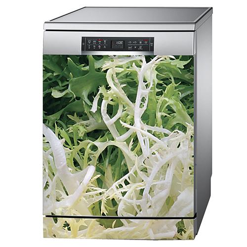 Sticker autocollant salade frisée collé sur une porte de lave vaisselle