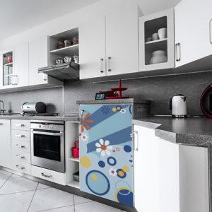 Petit frigo moderne décoré avec un sticker décoratif modèle Flashy