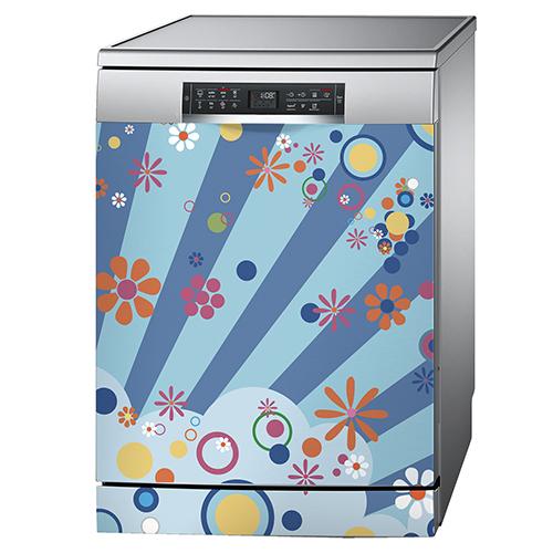 Sticker décoratif motif Flashy collé sur un lave vaisselle classique