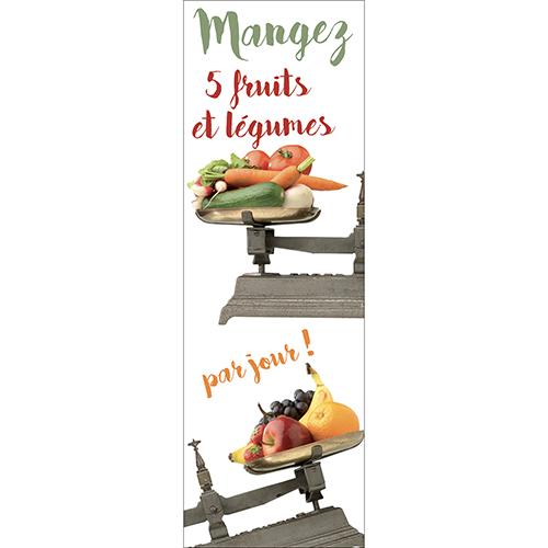 Sticker autocollant décoratif pour grand frigo 5 fruits et légumes