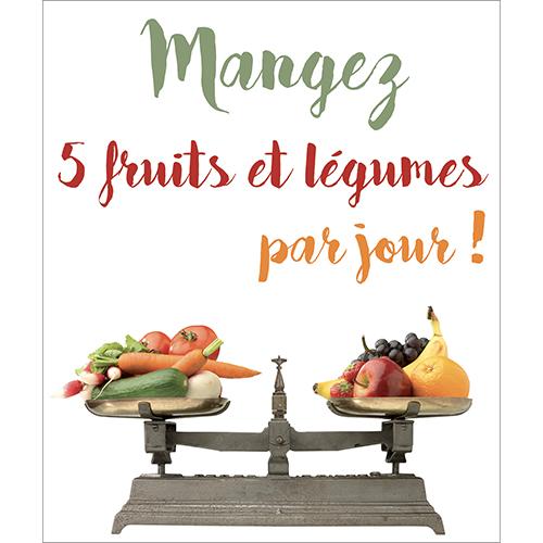 Sticker autocollant décoratif citation 5 fruits et légumes pour lave vaisselle