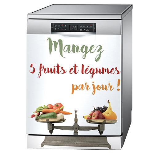 Sticker citation 5 fruits et légumes collé sur un lave vaisselle couleur métal