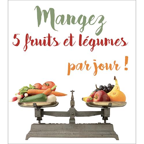 Sticker porte de placard 5 fruits et légumes