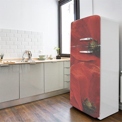 Décoration adhésive coquelicot rouge collé sur un frigo classique blanc