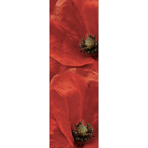 Sticker décoratif pour grand frigo modèle coquelicot rouge