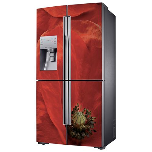 Sticker adhésif Coquelicot Rouge collé sur un frigo américain de luxe