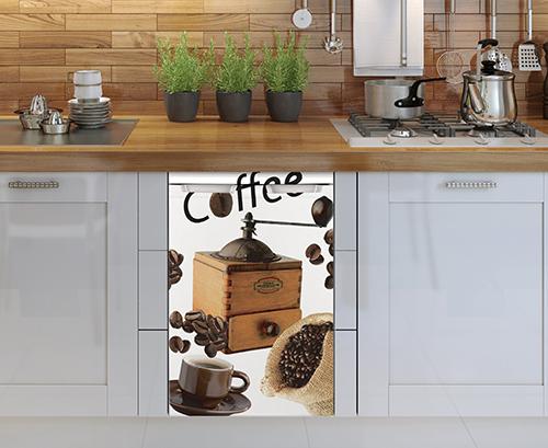Décoration adhésive modèle grain de café pour petit frigo adapté pour un lave vaiselle