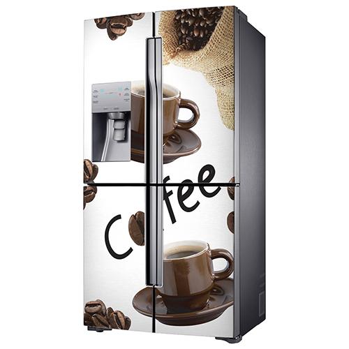 Frigo américain standard orné d'un autocollant adhésif grain de café