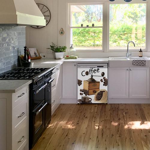Sticker autocollant moulin à café décorant un lave vaisselle blanc classique
