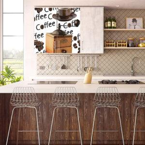 Sticker autocollant moulin à café collé sur un placard sous l'évier