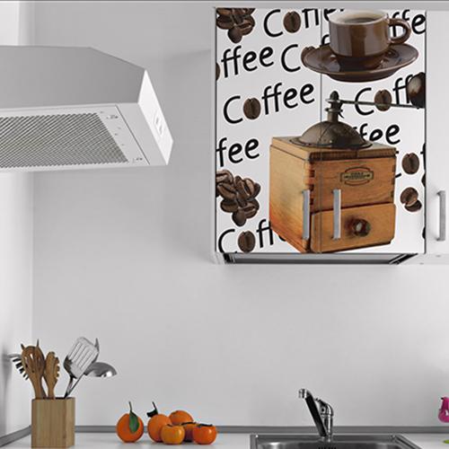 Placard mural blanc décoré avec un sticker décoratif moulin à café