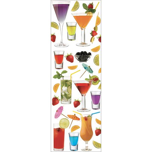 Sticker décoratif adhésif modèle cocktails pour grand frigo de cuisine