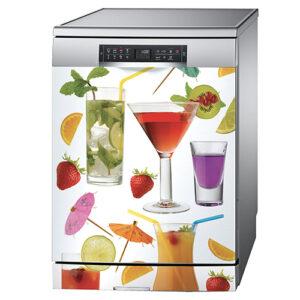 Sticker décoratif modèle cocktail collé sur un lave vaisselle