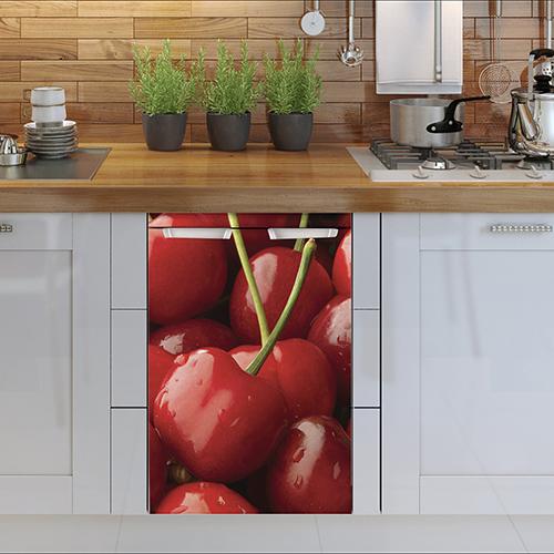 lave vaisselle déocré avec un sticker autocollant cerises rouges pour petit frigo adapté