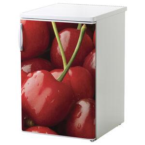 Sticker cerises rouge décorative collé sur un petit frigo blanc