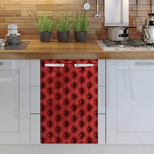 Lave vaisselle décoré avec un sticker pour petit frigo capiton rouge adapté