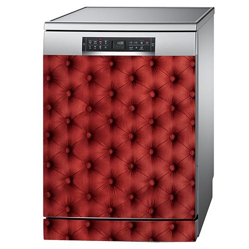 Lave vaisselle aluminium orné d'un sticker imitation capiton rouge