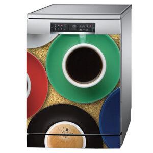 Lave vaisselle standard couleur aluminium avec un sticker autocollant modèle tasse de café