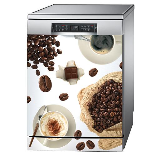 Sticker décoratif adhésif collé sur un lave vaisselle modèle café