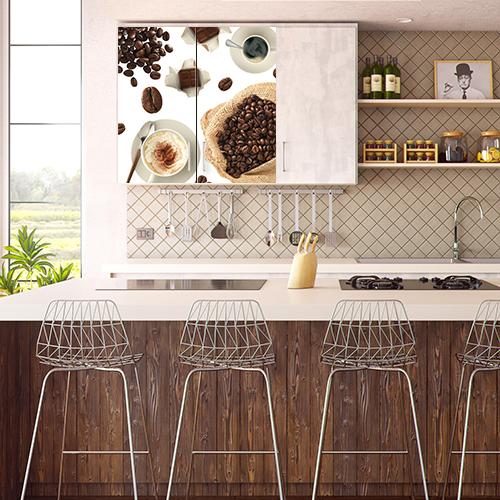 Cuisine moderne avec un sticker autocollant déco Café sur le placard mural
