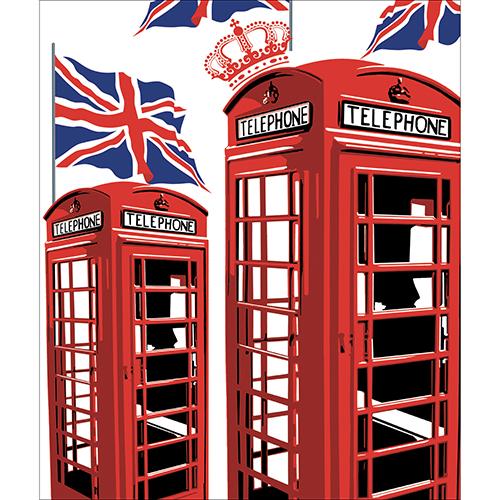 Sticker décoratif autocollant pour lave vaisselle Cabine Londres