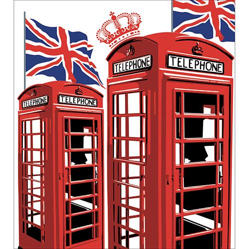 Sticker décoratif pour portes de placards modèle Cabine Londres