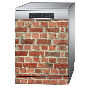 Lave vaisselle couleur métal classique orné d'un sticker adhésif imitation mur de briques rouges