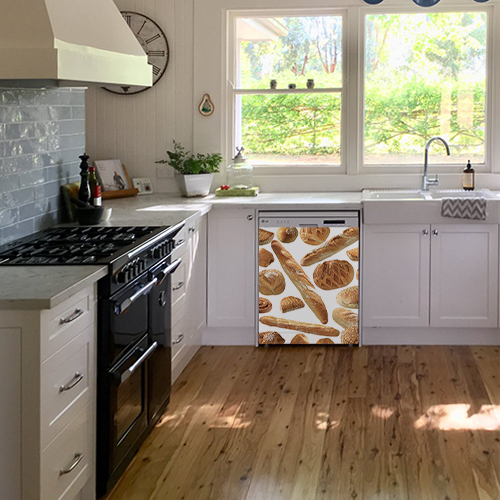 Sticker adhésif autocollant modèle Boulangerie collé sur le lave vaisselle d'une cuisine blanche