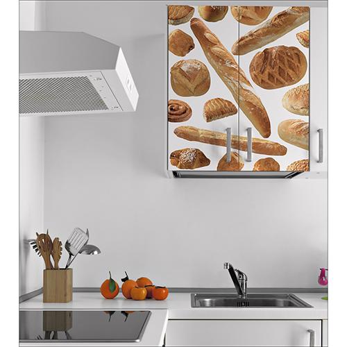Sticker décoratif autocollant Boulangerie collé sur les placards de la cuisine