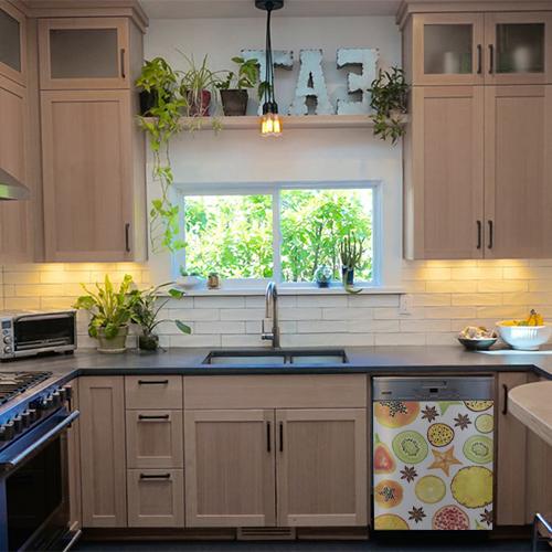 Sticker décoratif FRUITS EXOTIQUES collé sur le lave vaisselle d'une cuisine moderne