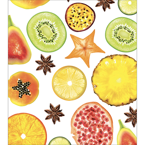 Sticker décoratif pour cuisine fruits FRUITS EXOTIQUES