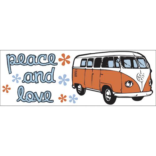 Sticker décoratif peace & love avec combi