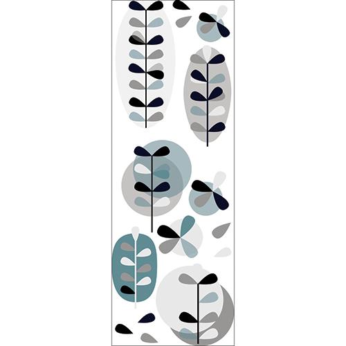 Stickers muraux Fleurs gris et bleu
