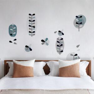 """Autocollants fleurs nordique """"Clarisse glacier"""" en tête de lit chambre à coucher"""