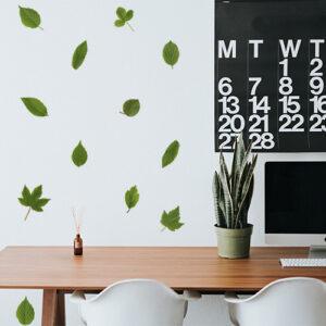 "Stickers feuilles ""herbier"" sur mur de bureau"