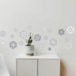 """Agencement autocollants hexagones """"pliages gris"""" sur mur"""