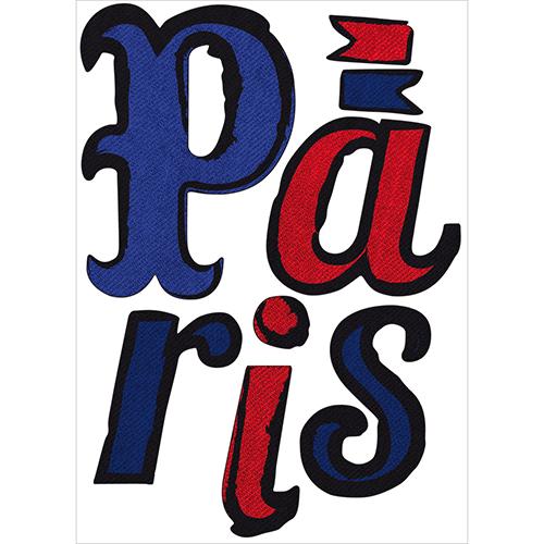Sticker citation Paris - lettres adhésives déco Paris en bleu et rouge.