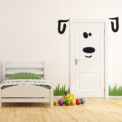 sticker planche d co dessus de porte chien. Black Bedroom Furniture Sets. Home Design Ideas