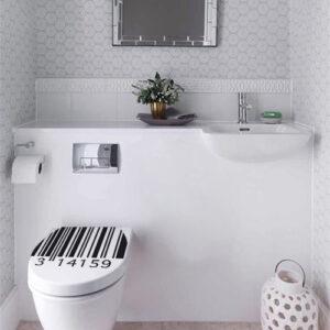 Code barre autocollant et original collé sur des WC classiques