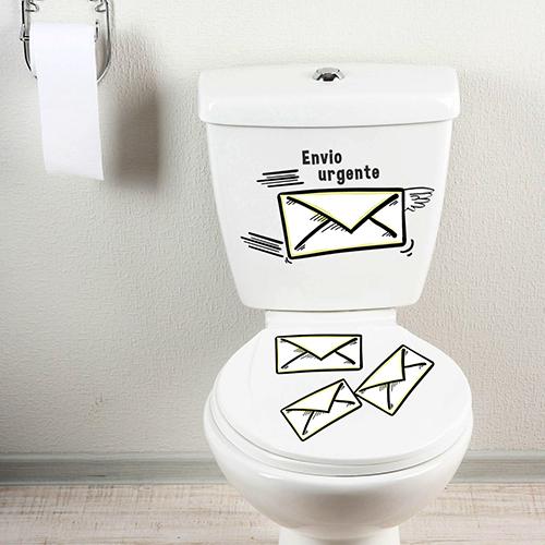 Sticker original décoratif motif envie pressante collé sur des WC classiques