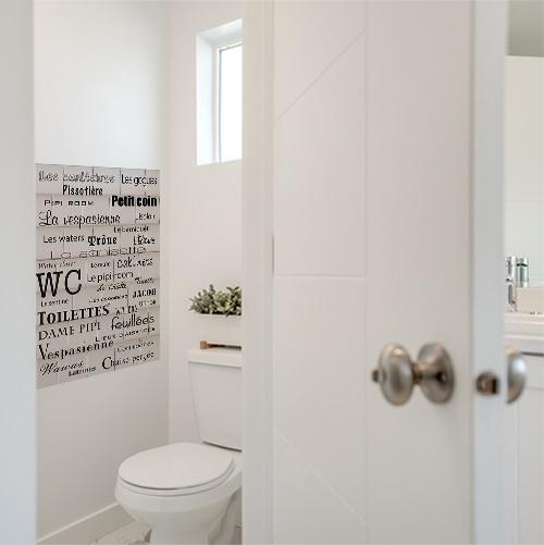 Sticker autocollant variante du mot toilette pour WC