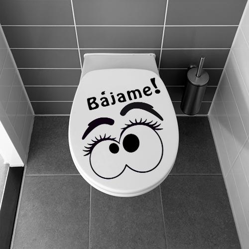 Abattant de toilettes classique décoré avec un sticker pour WC Yeux Bajame