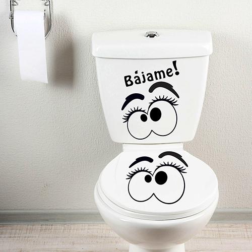 Sticker adhésif collé sur des toilettes yeux bajame