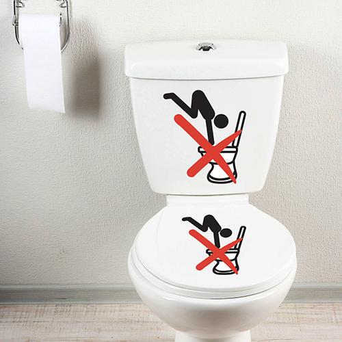 Panneau adhésif pour toilettes Interdiction de plonger collé sur des WC