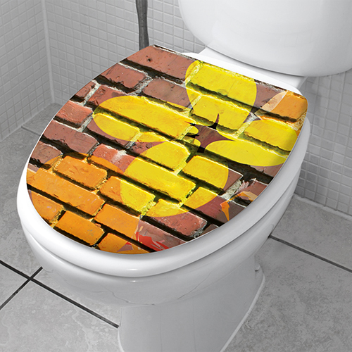 Décoration pour WC modèle graf collé sur un siège de toilette classique