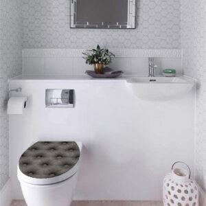 Abattant de toilette classe grâce au sticker modèle capiton gris