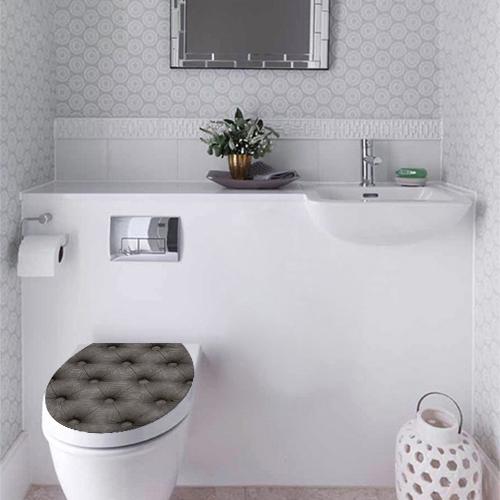Autocollant toilettes imitation capiton gris